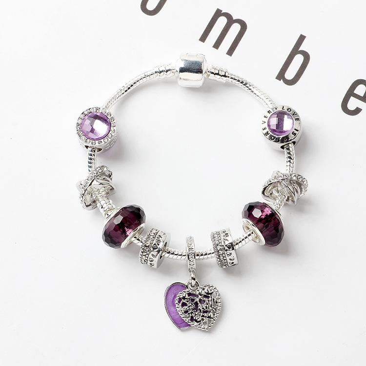 DIY pourpre perles de verre Bracelet cadeau pour la fête en forme de coeur Bijoux Bracelet Pendentif femme Valentine