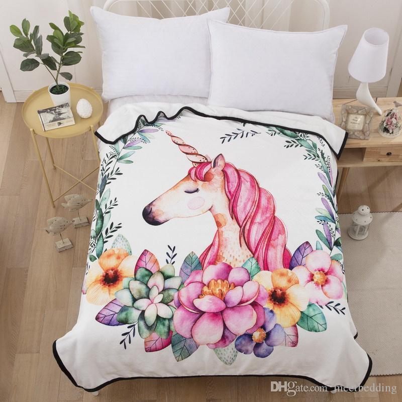 Bande Dessinée Licorne série couverture pour lits cadeau pour les filles confortable belle Été Hiver Chaud Pour lits Canapé hôtel