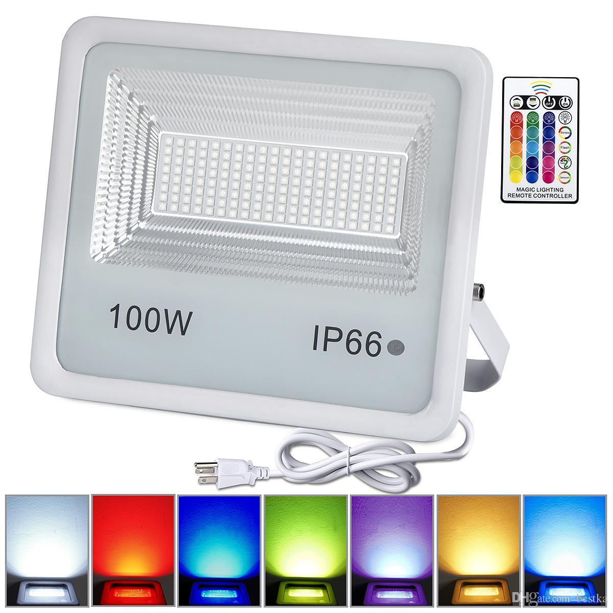 في الهواء الطلق RGB LED ضوء الفيضانات ريال عالية الطاقة 10W 20W 30W 50W 100W الكاشف مصباح للماء IP66 مصباح مع أضواء عطلة التحكم عن بعد