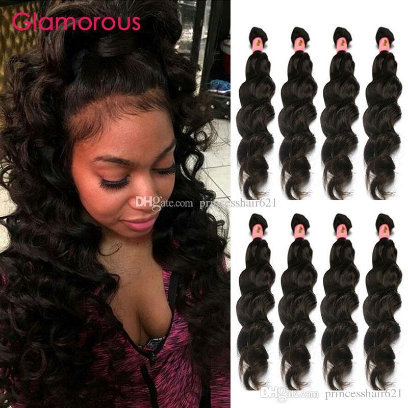 Pelo glamoroso mejor calidad 100% virgen peruano mongol Malasia Brasileño Brasileño Humano 8-34 pulgadas Natural Ola 4 Paquetes Human Hair Weaves