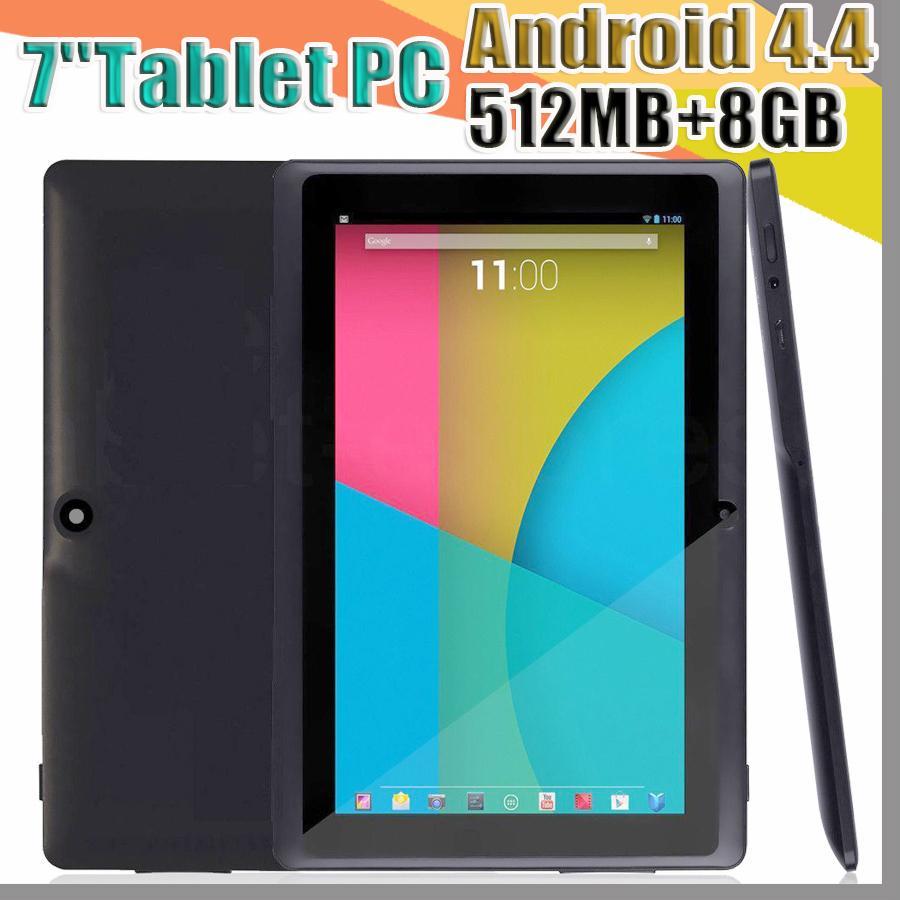 168 싼 2017 태블릿 와이파이 7 인치 5백12메가바이트 RAM 8기가바이트 ROM Allwinner A33 쿼드 코어 안드로이드 4.4 용량 성 태블릿 PC 듀얼 카메라 페이스 북 Q88 A-7PB