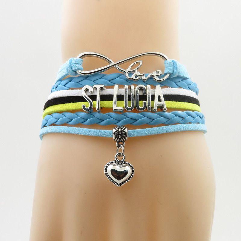 Unendlichkeit Liebe St Lucia Armband Herz Bettelarmband Liebe St Lucia Nationalflagge Armband Armreif für Frau und Mann