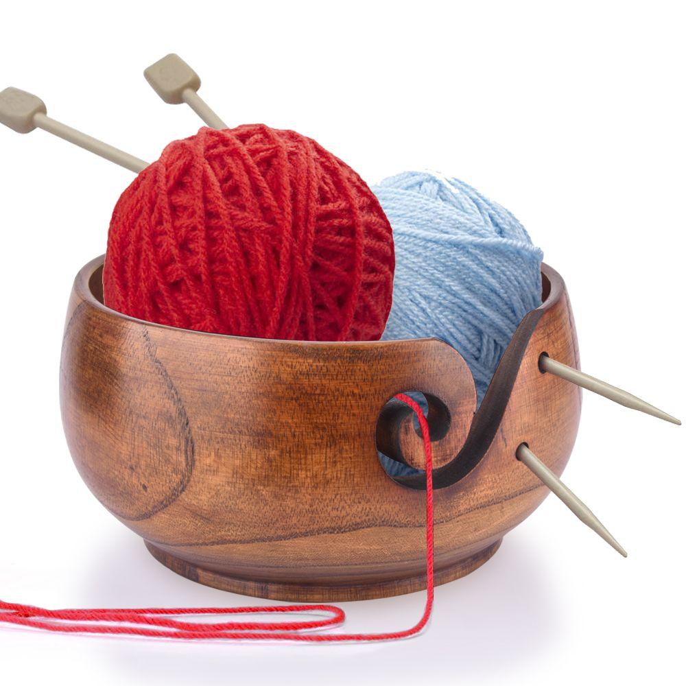 Titular del recipiente de hilo Hilado de madera Almacenamiento de tazón antideslizante Crochet Organizador Suave Remolino Lana Sekin Proyecto de tejer Costura Accesorio