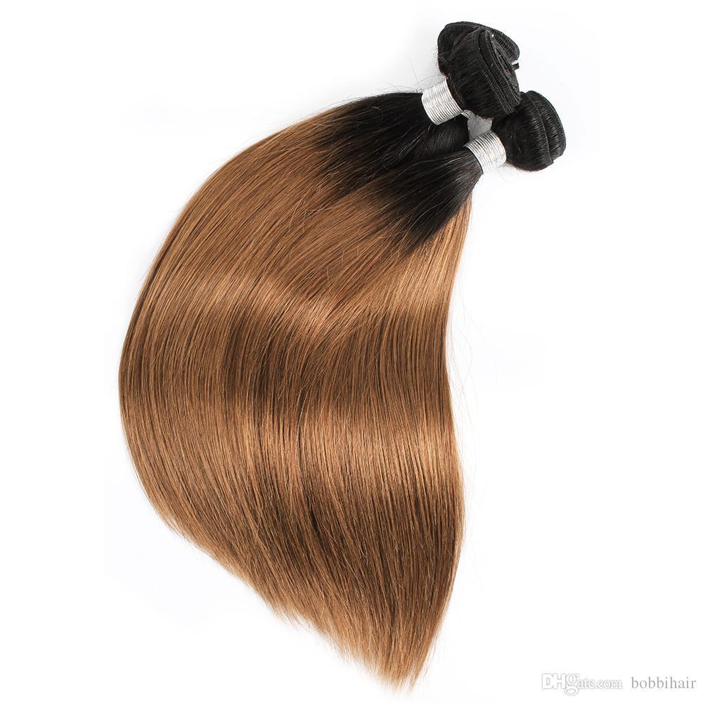 Wholesale Ombre Dark Blonde Hair 1B/30 Brown Color Brazilian Virgin straight Hair 10 Bundles 10-24 inch Remy Human Hair Extensions