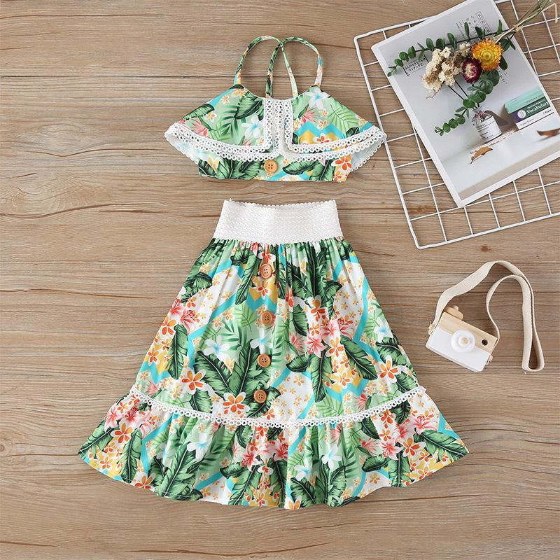 Vieeoease Girls Set Flower Kids Clothing 2020 Summer Print Straps Top + Ruffles Skirt Children Outfits 2 pcs CC-738