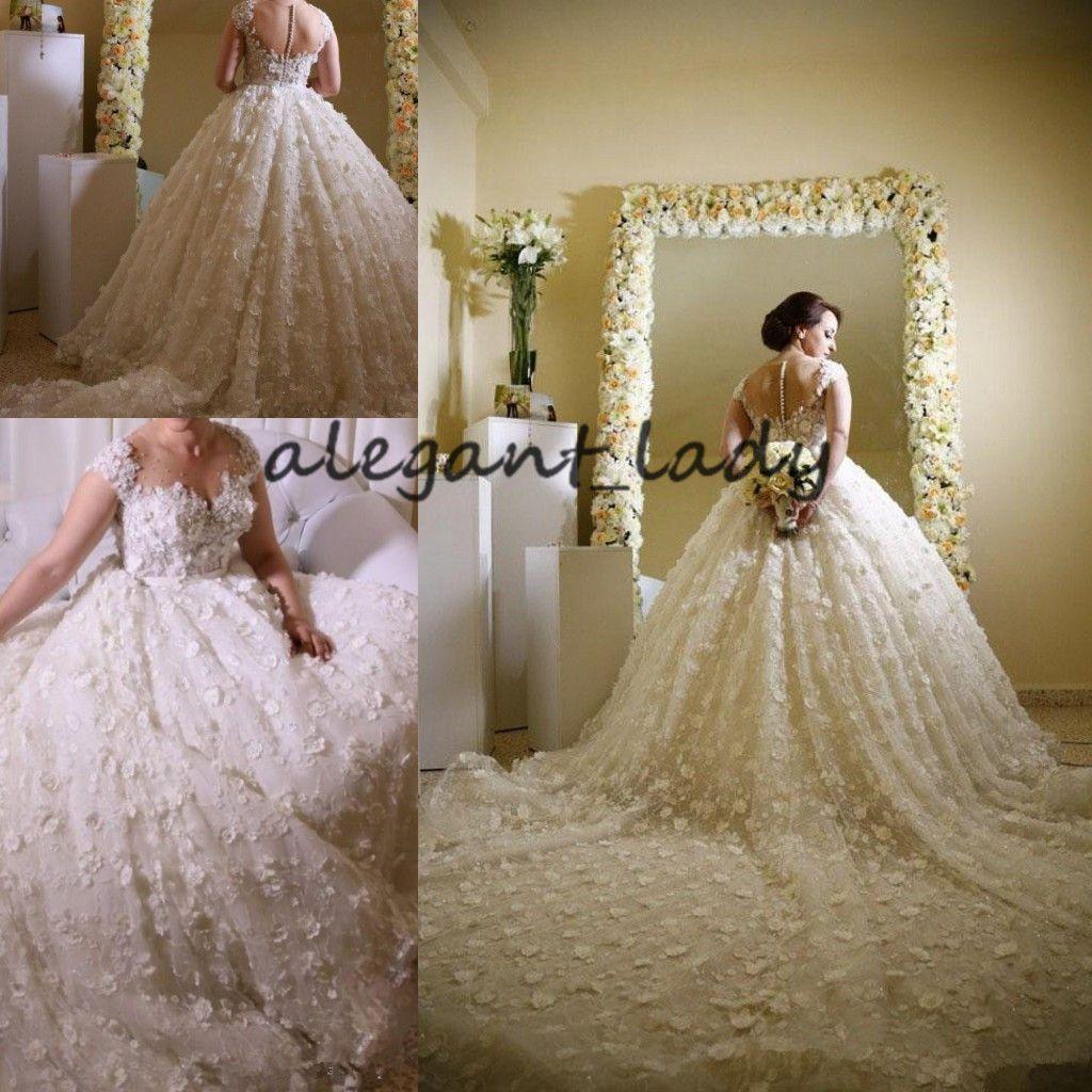 Appliques de mariage 3D florales robes Illusion décolleté perlé manches courtes pure dos nu magnifique église chapelle train robe de mariée en dentelle