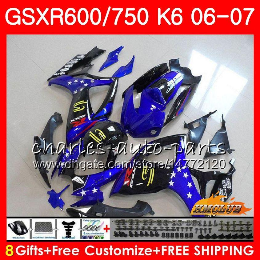 Kropp för SUZUKI GSX R600 GSX-R750 GSXR-600 GSXR600 06-07 8HC.31 GSX R750 GSXR 600 750 06 07 K6 GSXR750 2006 2007 Hot Sale White Fairing Kit