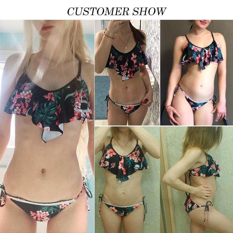 1f4e4609d9416 2019 In X Ruffles Sexy Bikini 2019 Push Up Swimsuit Plus Size Floral Print Swimwear  Women Bathers String Bathing Suit Beach Wear From Youlezhe, ...