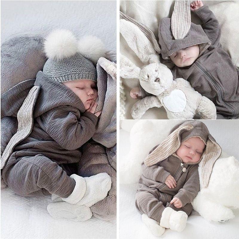 Completo per bambini Neonato Babys Ear Rabbit Conjoined Cerniere con cappuccio Pagliaccetto Ragazzo Ragazza Plaid Gentiluomo Fiocco invernale Lettere a due pezzi Stampa