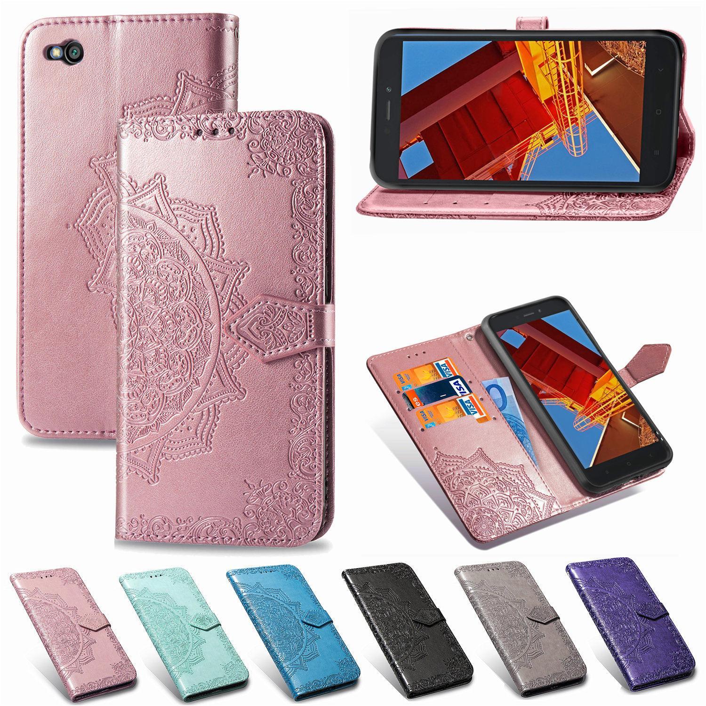 Téléphone Caseing PU Housse en cuir pour Xiaomi redmi GO gaufrée Datura fleurs avec carte Wallet Porte-Dragonne (Modèle: redmi-GO)