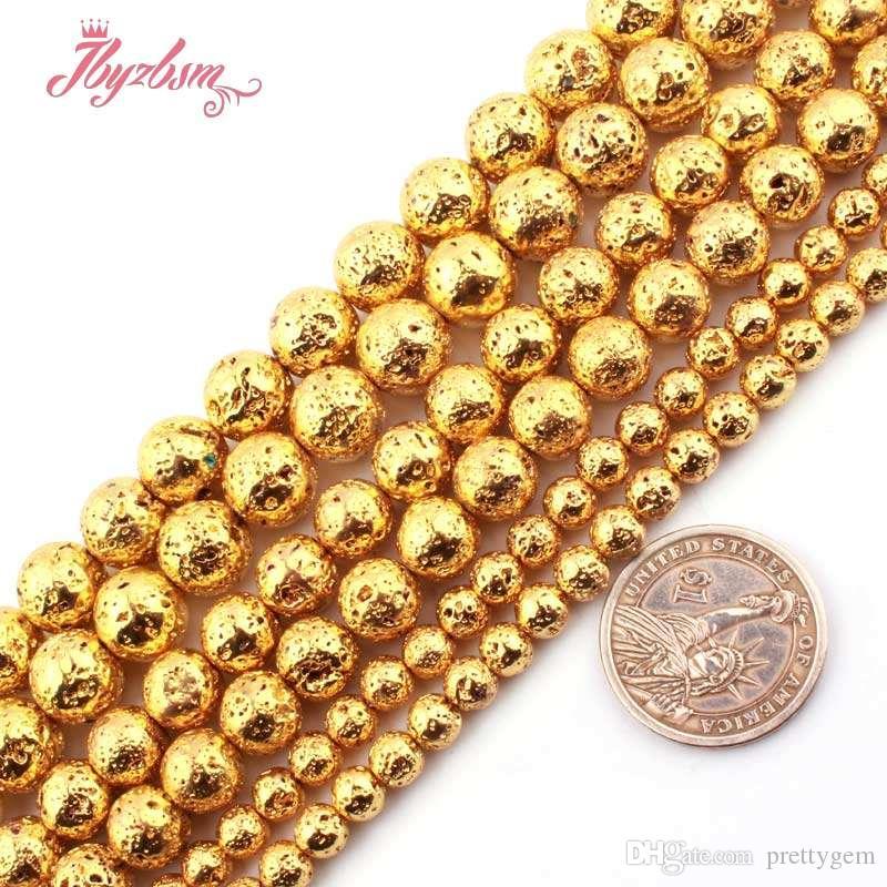 """4,6,8,10mm ouro ao Plateds Rocha vulcânica Lava Stone Beads para DIY Colar Bracelats fazer jóias soltas 15"""" Frete Grátis"""