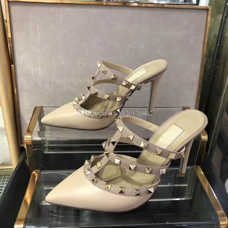 2018 novas Mulheres Bombas Sapatos de Casamento Mulher de Salto Alto sandálias de Moda Nudez Tornozelo Cintas Rebites Sapatos Sexy Sapatos De Salto Alto Sapatos De Noiva Tamanho 34-41