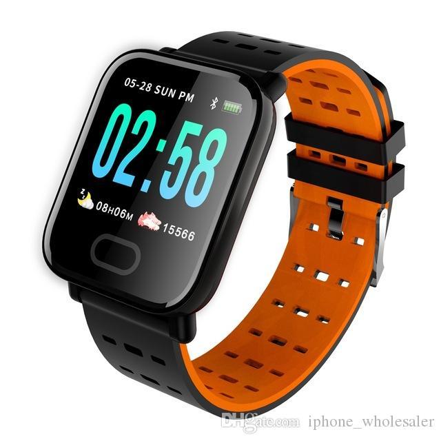 IPhone Android için A6 Akıllı İzle Reloj Inteligente Pulsometro Ritmo Cardi Spor Tracker Akıllı Bilezik pasometre Su geçirmez saatler