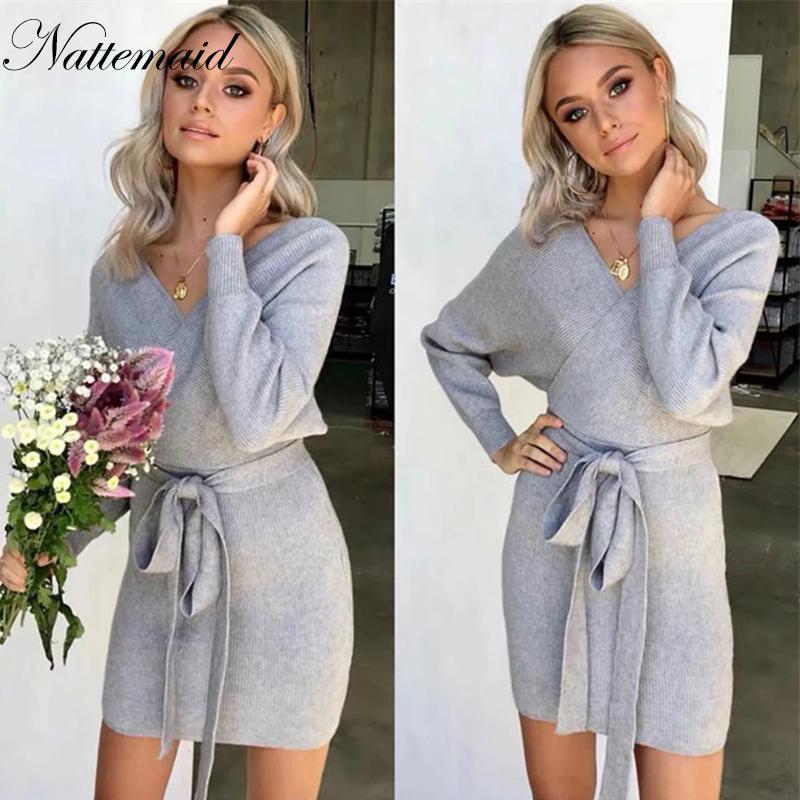 NATTEMAID Outono Knitting V Neck Sexy vestido de mulher alta estiramento Sólidos Elegante Mini vestido com Caixilhos camisola do inverno Casual