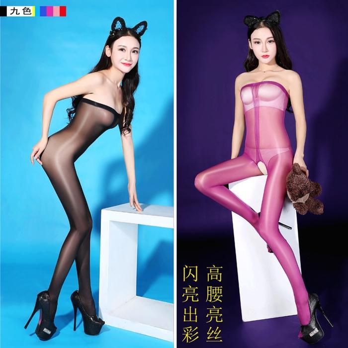 Nuovo sexy di colori della caramella più il grande vita alta lucido lucido olio Stocking apertura sul cavallo e Body collant stretti erotica sexy della biancheria 10