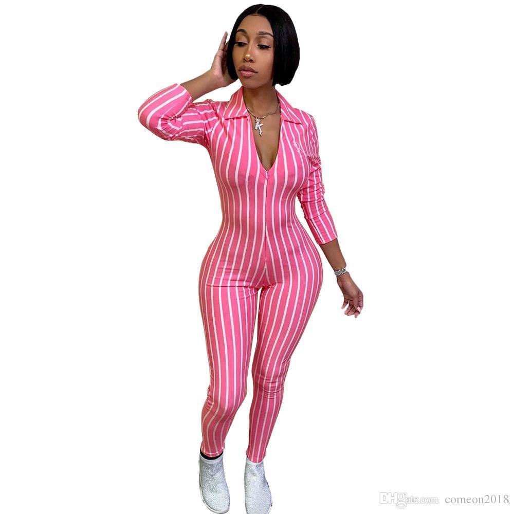 Оптовые дизайнер сексуальный комбинезон спортивный костюм комбинезон женский комбинезон с длинным рукавом узкий полосатый принт тонкий повседневный комбинезон Combinaison Femme