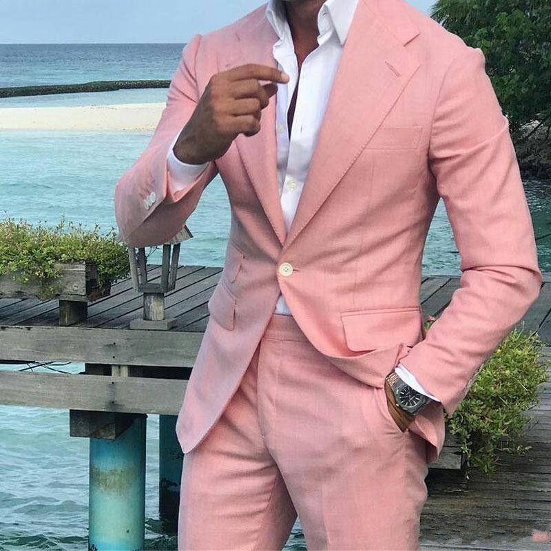 Moda Coral hombres Wedding esmoquin muesca solapa esmoquin novio Excelente Hombres Blazer 2 piezas de baile traje / chaqueta Cena (Jacket + Pants + Tie) 1882