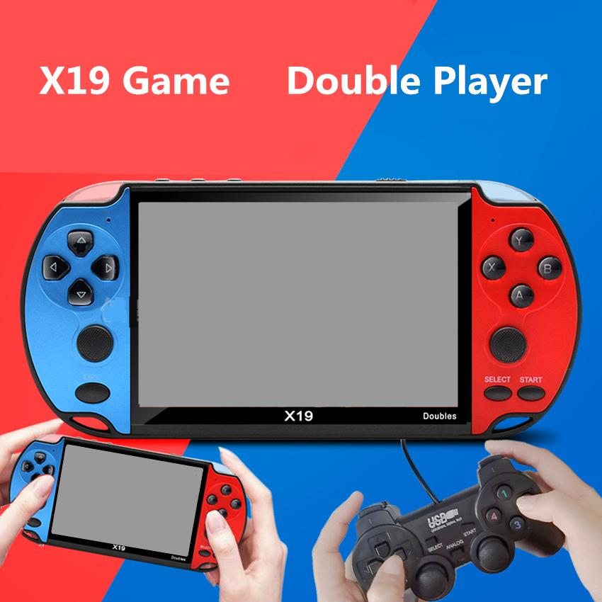 X19 Double Players 4.3 inch HD Screen 8G Storage Game Console 16/32/64/128 Bit Arcade FC Games Double Rocker TV Video MP5 Handheld Game Box