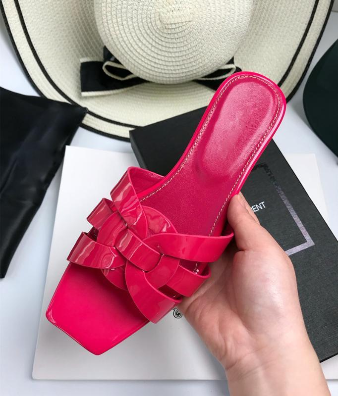 zapatillas de cuero de diseño de moda de marca, zapatos de mujer plana talón del verano de las mujeres, sandalias clásicas de lujo de primera calidad