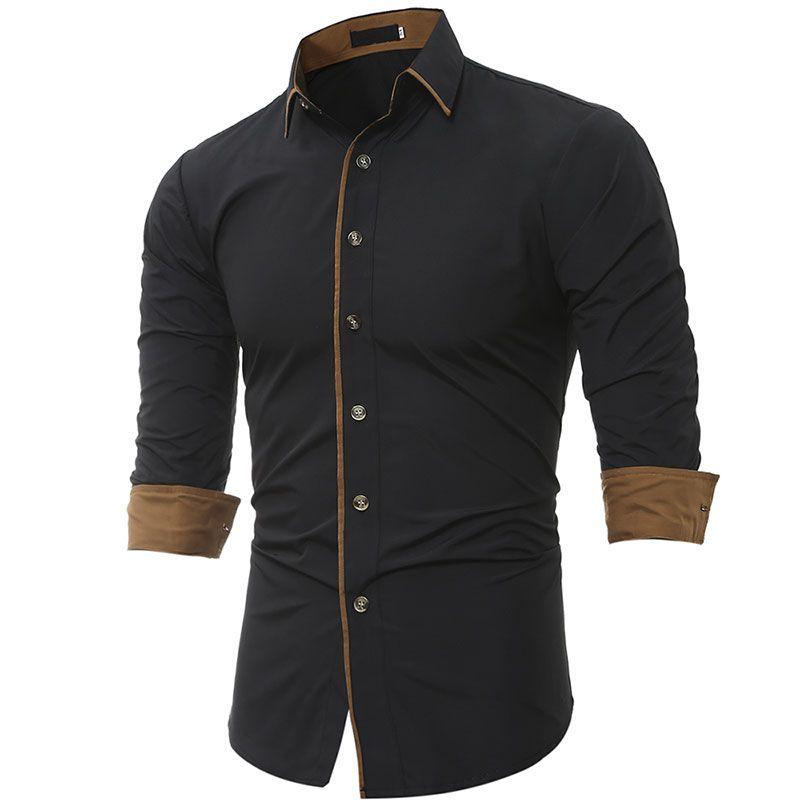 Jesień Wiosna Mężczyzna Z Długim Rękawem Stylowe Slim Fit Sukienka Koszule Rozmiar M L XL XXL XXXL Męska odzież Casual