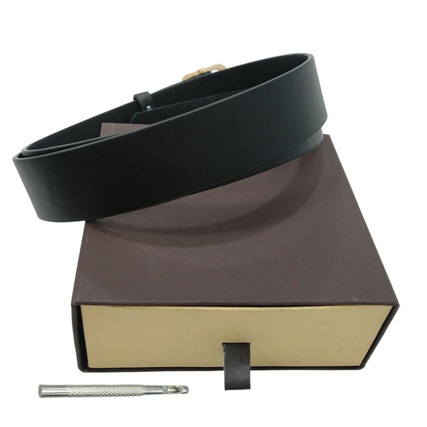 Cinture Mens cinghia di modo cinghie degli uomini di cuoio Fasce nero Donne di affari d'oro fibbia grande classico delle donne Cintura casuale con Orange Box 56 4875