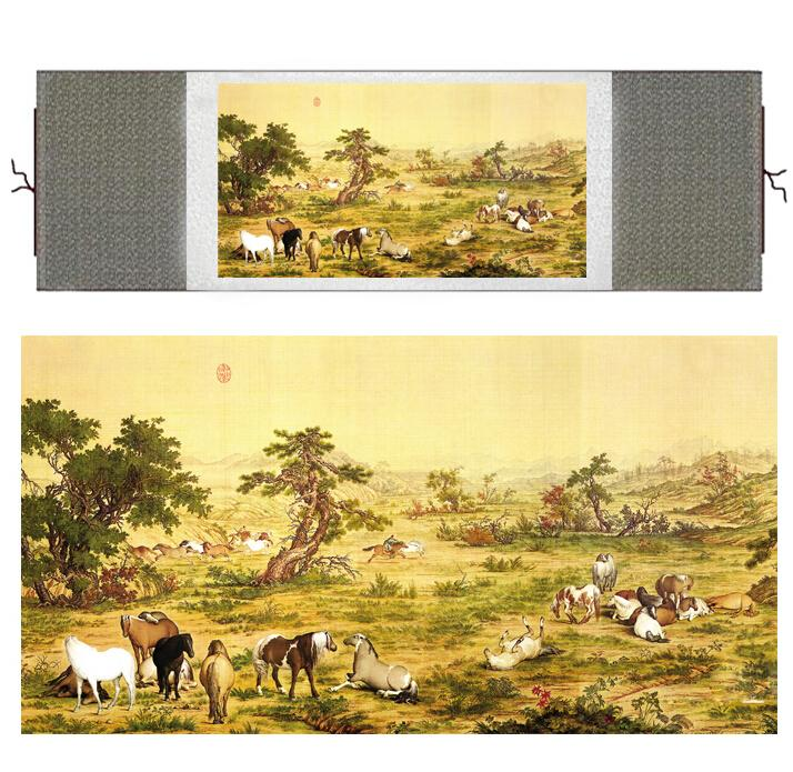 Horse Painting Traditional Chinese Painting On Silk Painting Art Horse Horse Picture Scroll