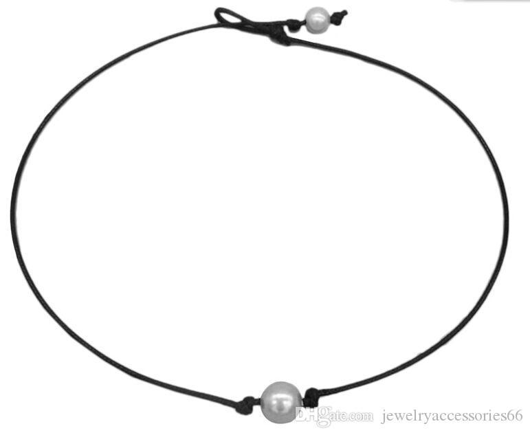 20шт / много Мода Knot Жемчужное ожерелье шнура кожи ожерелье ювелирных изделий женщин Оптовая продажа ожерелья чокеровщика