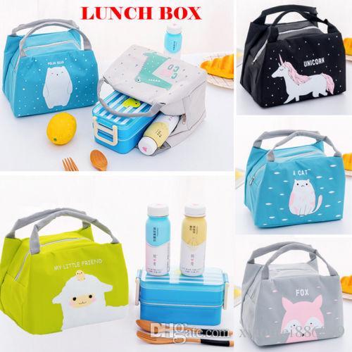 New cute animal portable insulated canvas cool picnic lunch bag hot food handbag