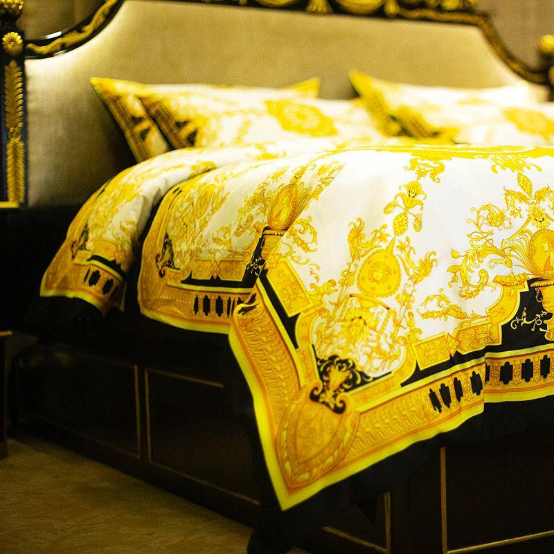 Luxury Royal French Italy Design Print Brand king queen size Quilts Blue Gold Brand Wedding bedding sets Duvet cover/Sheet/Pillowcase