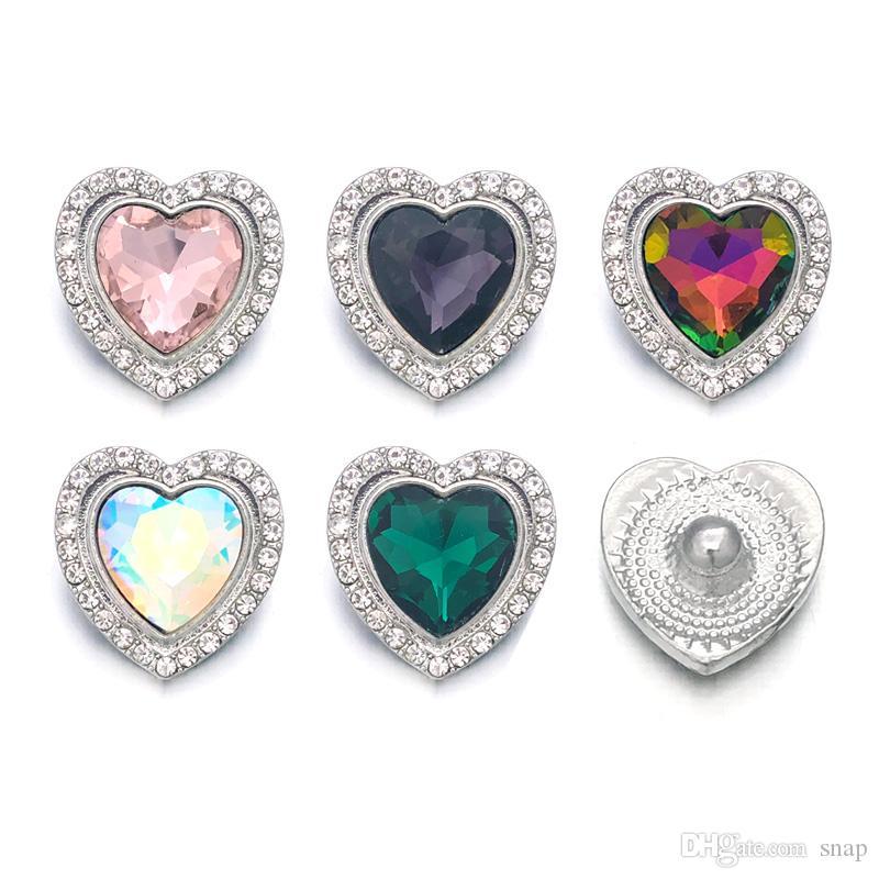 Cristal w070 Coeur 3D 18mm 20mm En Métal Bouton pression Pour Bracelet Collier Interchangeable Bijoux Femmes Accessoire Conclusions