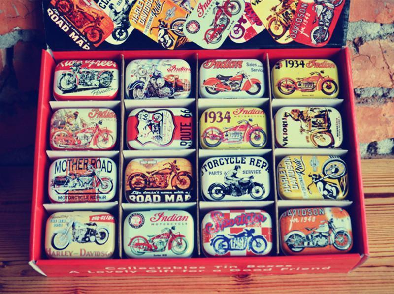 32 pezzi / scatola design moto d'epoca scatola di latta metallo moneta salvadanaio piccolo caso Jewerly 16 disegni scatola regalo di cioccolato