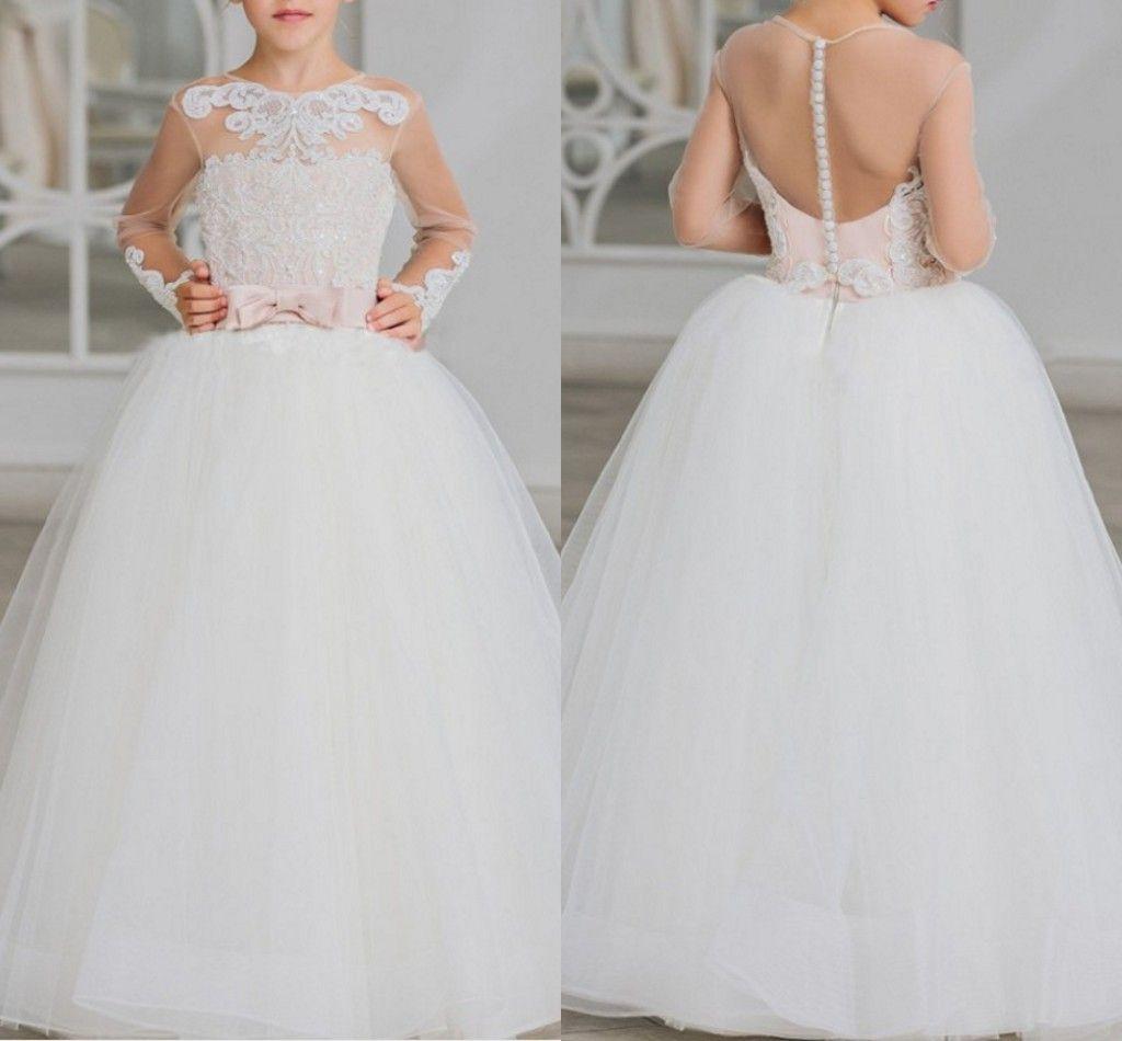 2020 mangas largas de la vendimia muchachas de flor de los vestidos de boda por pura cuello apliques con cuentas de las lentejuelas Top Arcos Una línea de tul vestido de primera comunión