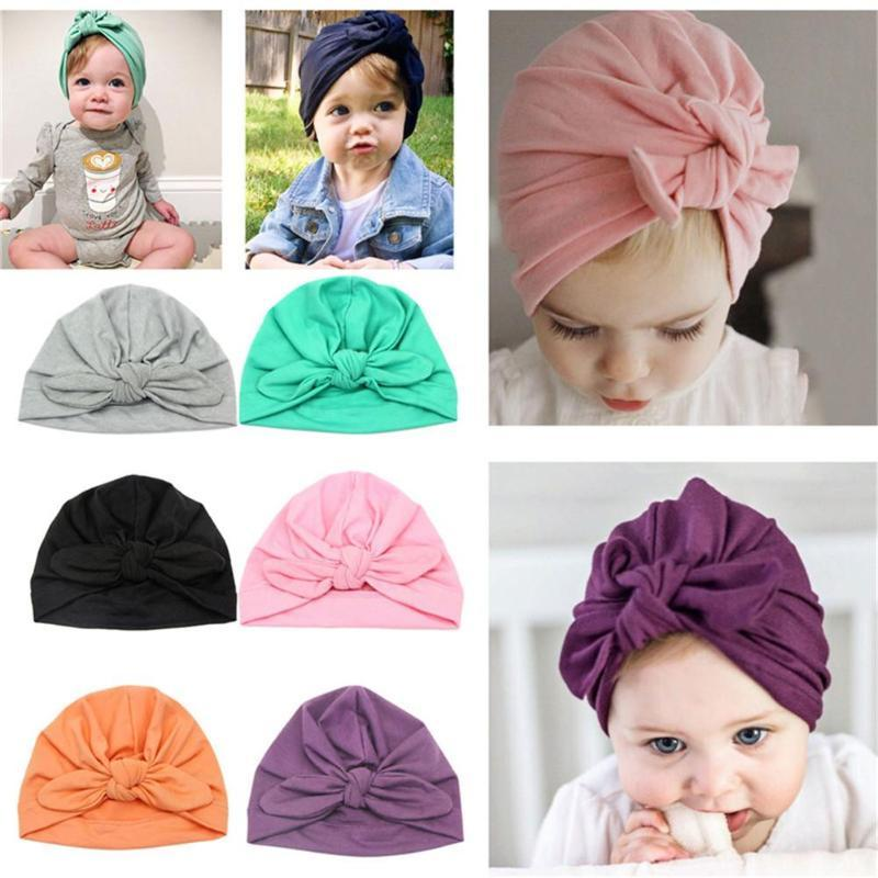 Baby Hat Knotted Ears Newborn Elastic Baby Turban Hats Headwear Cotton Infant Beanie Cap Birthday Gift Shower Props