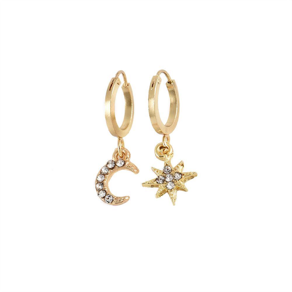 ALYXUY мода дамы Кристалл серьги звезды Луна серьги сочетание костюм круглые серьги для женщин подарки популярные аксессуары