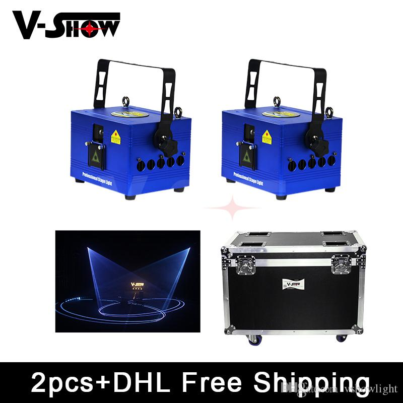 2Pcs with Fightcase 1W RGB Laser Projector Stage Equipment Lights RGB LED Mixing Effect DJ KTV Show family Party Laser Stage Lighting