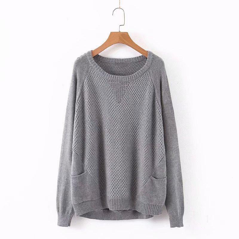 estilo elegante Chic Mulheres Grade Sweater Outono Moda Tricô Casual Sreetwear O-Neck Pullovers