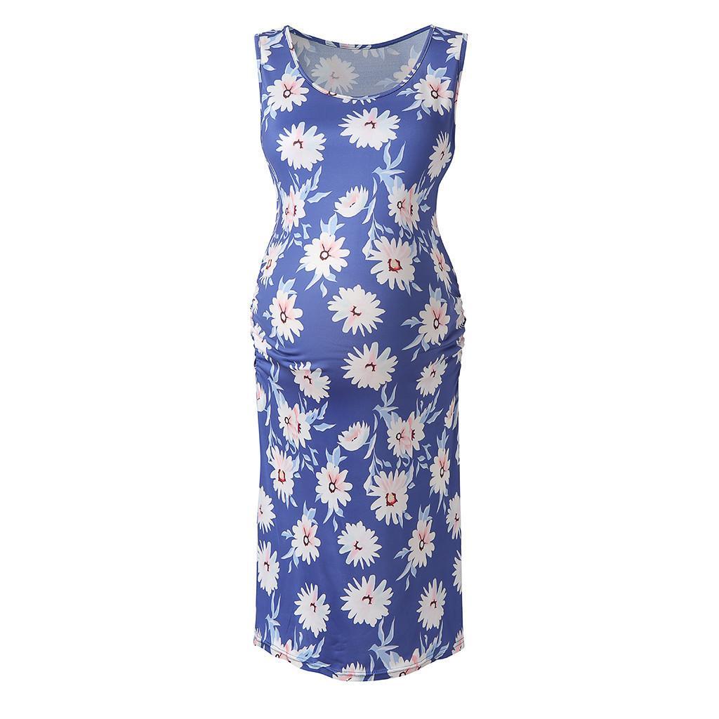 Frauen Mutterschaft Kleider Floral Elegant Sleeveless Casual Sommer Pflege Kleid Abend Schwangere Kleidung Vedtidos Para Mujer 19a25