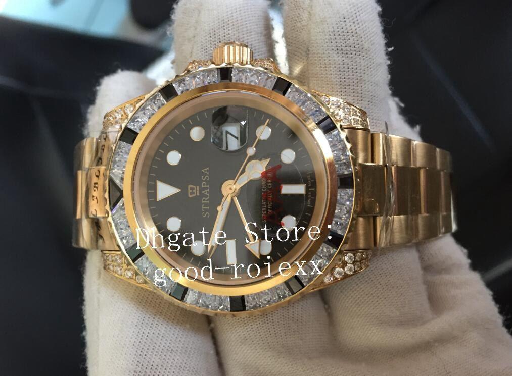 Automático de lujo 2813 Oro amarillo Hombres Diamante Dial Bisel Reloj Movimiento Hombres Gmt II 116758 Relojes Cristal de zafiro Saru-78208 Relojes de pulsera