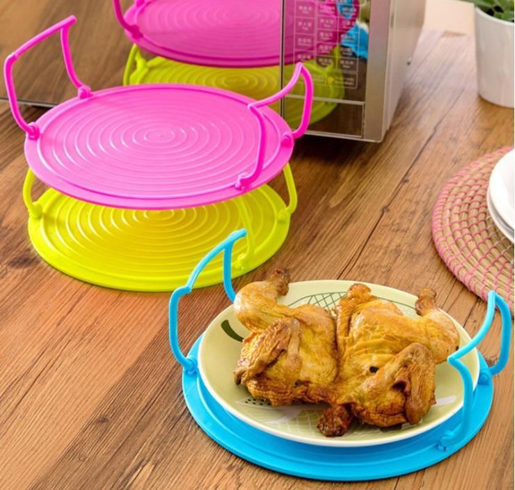 Multifuncional Forno Microondas Aquecimento Cozinhar bandeja de plástico Rodada Cavalete Secador Cozinha Acabamento Bandeja Organizador de Cozinha WB1856