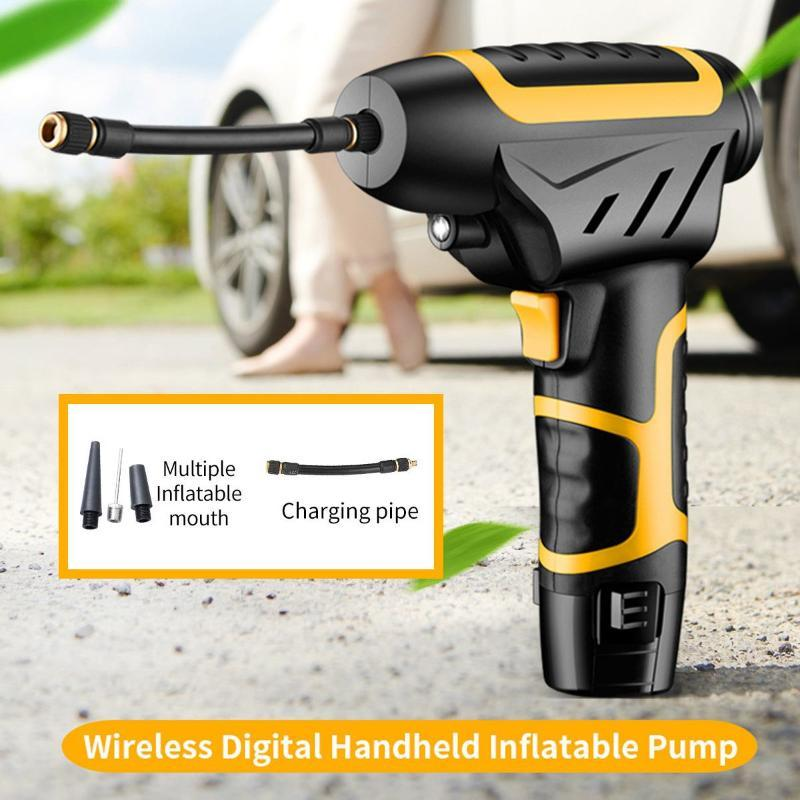 120W Cordless Car Tyre Air Compressor Pump Handheld USB Wireless Car Tire Inflator Pump + Digital Display for Motorcycle Bicycle