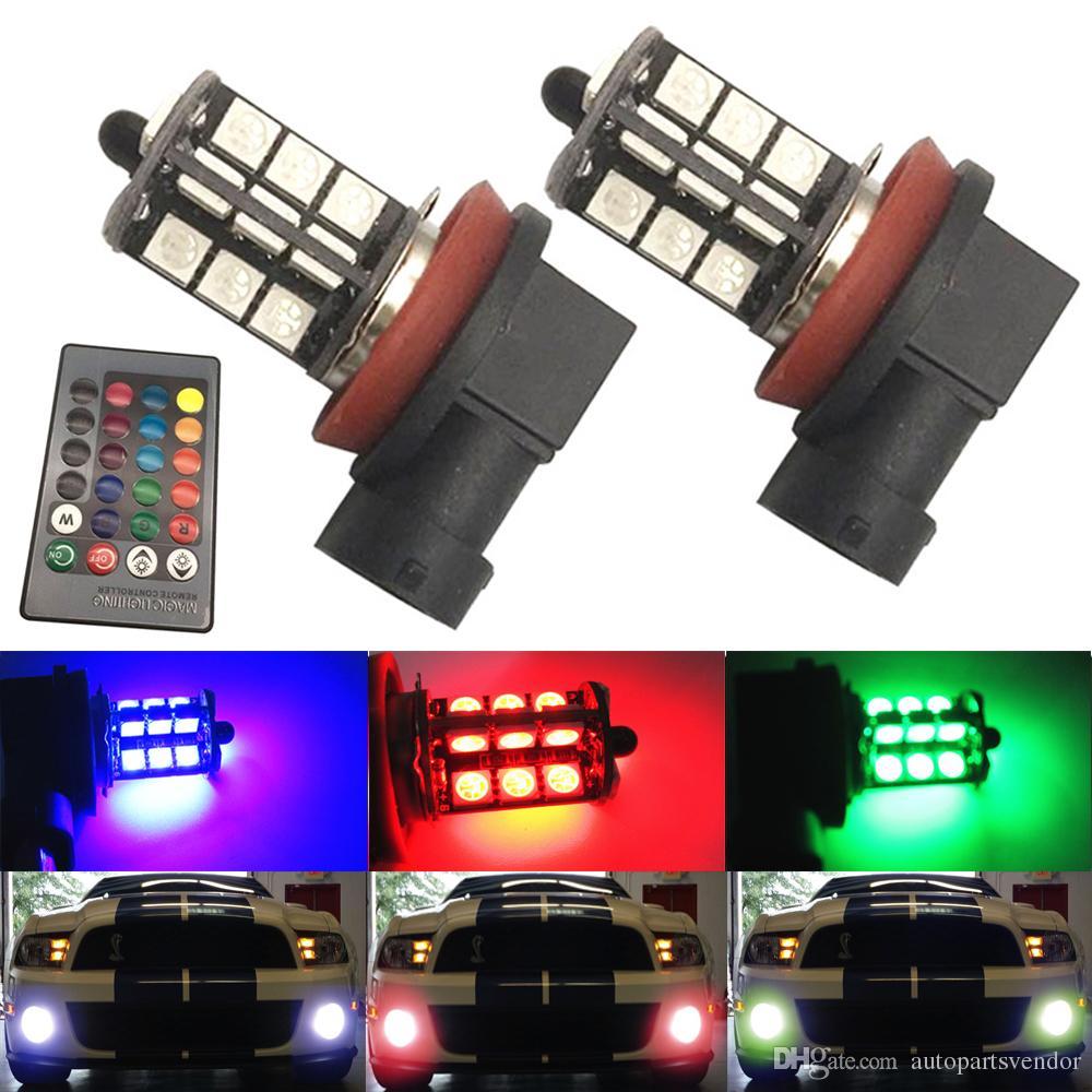 NUEVO 2PCS luces de niebla a distancia inalámbrico 5005 27SMD Multi-Color RGB 7440 H7 9006 9005 repuesto LED Luces de inversión con control remoto
