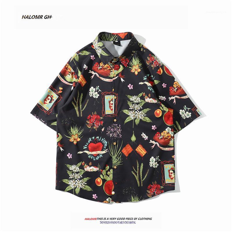 Отпечатано Повседневная рубашка Мужская одежда конструктора с коротким рукавом Turn воротник рубашки Mens смешанный цвет Цветочные