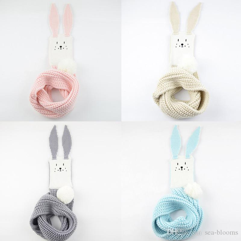 Free DHL 2019 Kids Winter Scarf Pompom Baby Scarf Boys Girls Warm Scarves Knitted Rabbit Children Cotton Scarf Accessories Neck Wrap M277Y