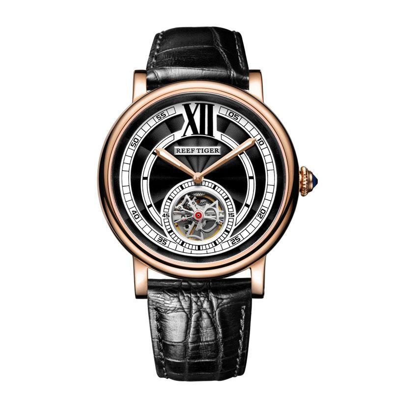 Arrecife de tigre / RT original de los hombres de negocios ocasional automático relojes del cuero genuino cristal de zafiro mecánico Nueva RGA192