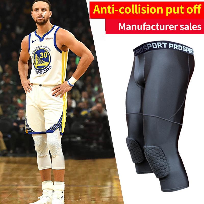 Collants de basket-ball rembourrés pour hommes avec genouillères pour hommes Collants de compression 3/4 Leggings Girdle Training