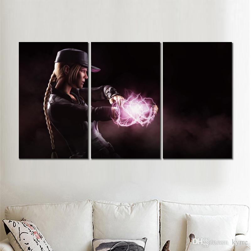 3 panels sonya mortal kombat x canvas printed painting wall pictures for living room