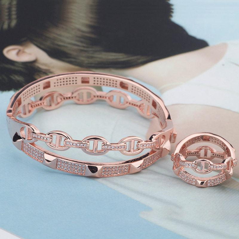 Luxury Casual Exquisite Bracelets Rings High Quality Classic Bangles Rings Fashion Silver Rose Bracelet Ring Fine Wedding Jewelry Lover Gift