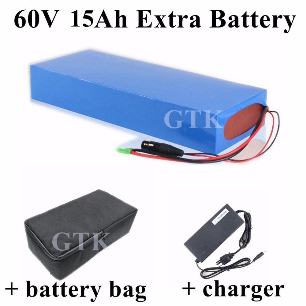 Marca 60v 15Ah litio ion batería Li-ion 60v 900w 15A BMS Para 60V 2 ruedas scooter batería patín eléctrico + cargador + Bolsa