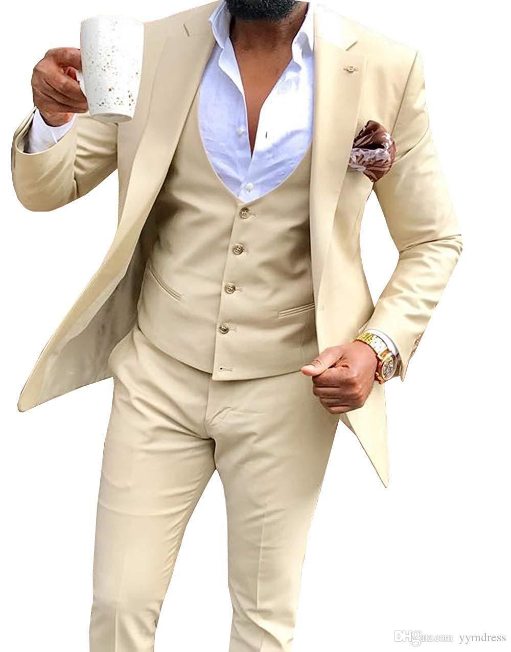 2019 Moda Bej Düğün Smokin Groomsmen Bir Düğme Tepe Yaka Best Man Suit Damat Erkek Blazer Suit (Ceket + Pantolon + Yelek)