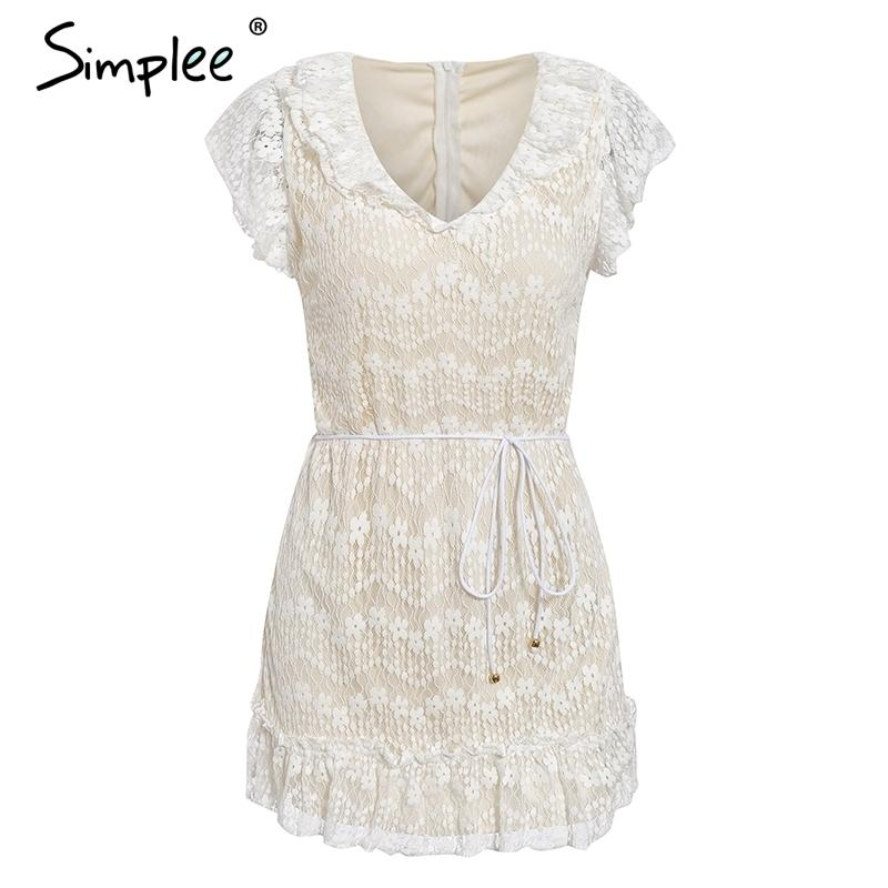 Simplee White Lace Summer Dress Women V Neck Ruffle Sashes Floral Embroidery Female Dresses Sexy Party Club Short Dress Festa Y19073101